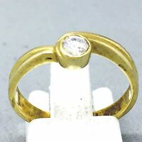 """9CT YELLOW GOLD DIAMOND SOLITAIRE ENGAGEMENT DRESS RING SIZE """"O""""   1120"""