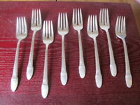 IS FIRST LOVE 8 Salad Forks 1847 Rogers Vintage Silverplate Flatware Lot C