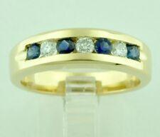 1.00 ct 14k Yellow Gold Mens Men's Natural Diamond & Sapphire Ring Band made USA