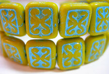 15 Mustard Yellow w/ Turquoise Wash Czech Glass Rectangle Beads 11x12mm