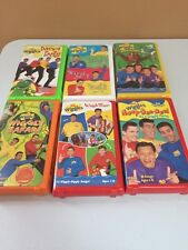 Lot of 6 Wiggles VHS Lot Wiggly World Safari Time Dance Yummy Wiggly Hoop Dee Do