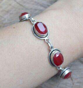 Ruby Bracelet, gemstone bracelet,red stone bracelet, statement bracelet, B234