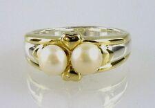 Natural Cultivada Perla Dos Tonos Anillo, 2-5.5mm Perlas Plata de ley 925