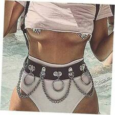 Chains Rave Body Jewelry Accessories Black Punk Waist Chain Belt Leather Body