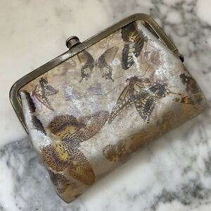 HOBO International Butterfly Small Bifold Double Frame Clutch Wallet Button Gold