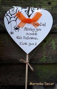 Halloween Memorial Grave Ornament- Personalised Plaque Spooky memory graveside