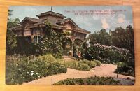 PAUL DE LONGPRE IN HIS GARDEN, HOLLYWOOD CA early divided postcard