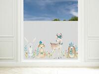 Fensterfolie Kinderzimmer Mädchen Waldtiere Sichtschutzfolie Milchglasfolie
