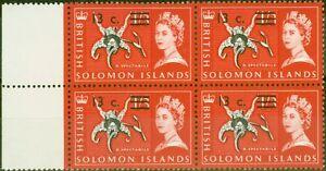 Solomon Ist 1966 13c Auf 1s3d Schwarz & Rosa-Rot SG145B Super MNH Block Of