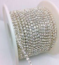 10 Yards ss8 2.5MM Crystal Glass Clear Rhinestone Silver Chain