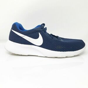 Nike Mens Tanjun 812654-414 Navy Blue Running Shoes Lace Up Low Top Size 8.5
