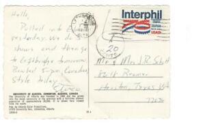 Postcard, Lethbridge, Alberta to Texas, illegal use of US postage, due, 1976