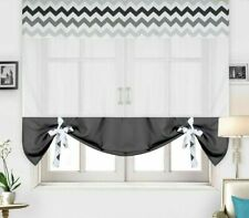 Tulle Curtain Kitchen Window Home Treatments Printing Waves Rod Pocket Decor New