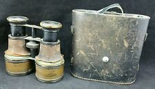 Vintage Unmarked Early 20th c Binoculars for Restoration With Case.