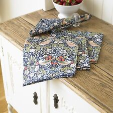 William Morris Blue Strawberry Thief Pack Of 4 Cotton Floral Napkins