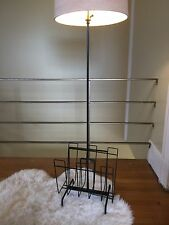 Vintage MCM Mategot Style Lamp Magazine Record Rack Stand Black Wire Atomic