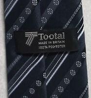 Vintage TOOTAL Tie Mens Necktie Retro 1980s Fashion DARK GREY NAVY STRIPED