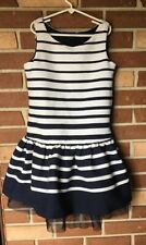 Gap Kids Girls 12 Navy Stripe Tank Dress Tulle Trim Sleeveless