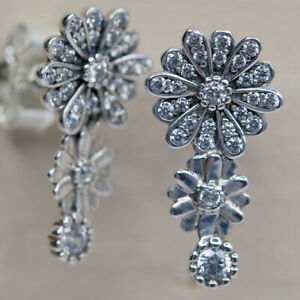 New Authentic Pandora Dazzling Daisy Earrings 298876C01 W Tag & Suede Pouch