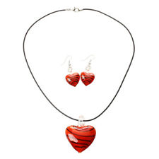 Necklace Set Fashion Murano Glass Heart C5P7