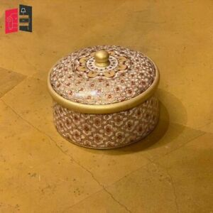 Wooden Hand Carved Golden Embossed Painted Round Box (MADE TO ORDER)