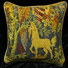 "Piped TAPESTRY SCATTER CUSHION Cover UNICORN & SHIELDS 42cm 17"" Medieval Design"