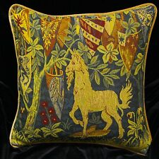 Piped TAPESTRY SCATTER CUSHION COVER, UNICORN + SHIELDS 42cm sq Medieval Design