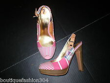 Authentic $248 New Womens 7 Coach Heels Sandals Shoes Peep Toe Pink Wood Stripes