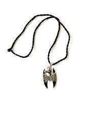 Vintage Chinese Black Silver Tone Dragon Head & Skull Pendant Marked