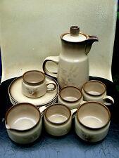 DENBY Memories COFEE pot,milk and sugar 4 cups & saucers  pottery set