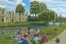 "SUPERB ORIGINAL RICHARD HARPUM M.A (Cambridge) ""Fun on the River Cam"" PAINTING"