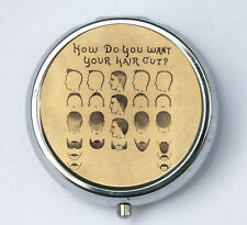 Hair Styles PILL CASE pillbox pill box holder victorian Hair cut barber beard