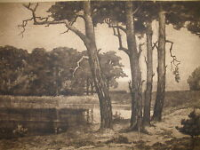 LISTED GERMAN ARTIST Hermann Thiele (1867 1956) LANDSCAPE ETCHING PENCIL SIGNED