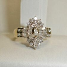 2.53Ct Marquise Cut Solitaire 14K Yellow Gold Over Cluster Engagement Ring Sz 7