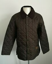 BNWOT Mens Barbour Liddlesdale Brown Quilted Button Up Jacket - Size Small