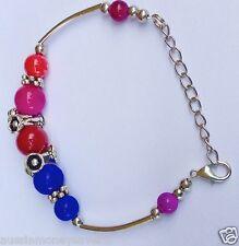Girls Adjustable christening charm T silver Bracelet Bangle Beads Multi color