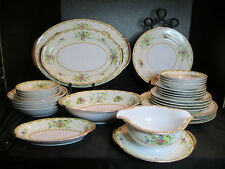 Mepoco China Yellow Pin Blue Floral Flowers Checkered Scroll Rim 29 Pieces