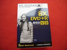 5 PACK MOVIE CASE PLEOMAX BLANK DVD +R DISCS, 4.7GB 8X SPEED  - NEW SEALED