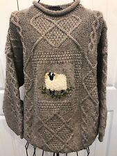 "ACORN  HAND KNIT Tweed Wool Grey CABLE ARAN Sweater Sheep 50"""