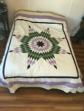 Completed Queen Size Star Quilt - Pieced - Purple/Green Coloured (959)