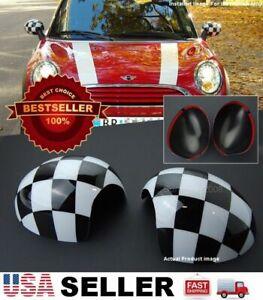 Black White Checkered Side View Mirror Cover Caps R55 R56 R57 R58 R59 R60 R61
