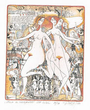"Ex libris  Nozdrin ''Amore, L'amour , Love""  Nude. Original etching, w-c, gold"