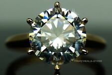 Solid Yellow gold 4.00 CT roung cut engagement wedding aniversary ring