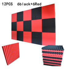12pcs Wedge Acoustical Studio Foam Absorbers Sound proof Absorbing Black+Red