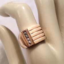 14K SOLID GOLD GENUINE DIAMOND CHANEL SET VINTAGE HEAVY MEN'S RING 10g