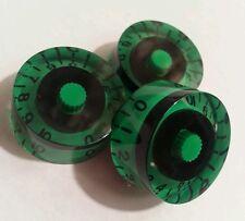 3 Guitar speed volume / tone knobs. Custom green/black. JAT CUSTOM GUITAR PARTS