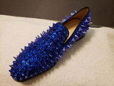 Blue Loafers Glitter Prom Shoes Round Toe Rivets Slip On Spike Shoes New6.5,CN38