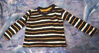 Lovely Early Days Boys Long sleeved T Shirt 12-18m Blue orange and white stripes