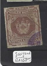 NORTH BORNEO  (PP1912B)   $10.00 ARMS, LION SG 50 FISCAL CANCEL  VFU