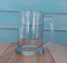 GLASS BEER MUG~HEAVY CLEAR BEVERAGE ROOTBEER GLASS W/HANDLE 12 OZ